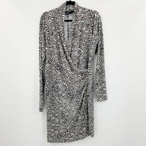 Norma Kamali Faux Wrap Long Sleeve Leopard Dress
